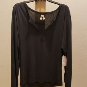 New Free people black shimmer  blouse Medium